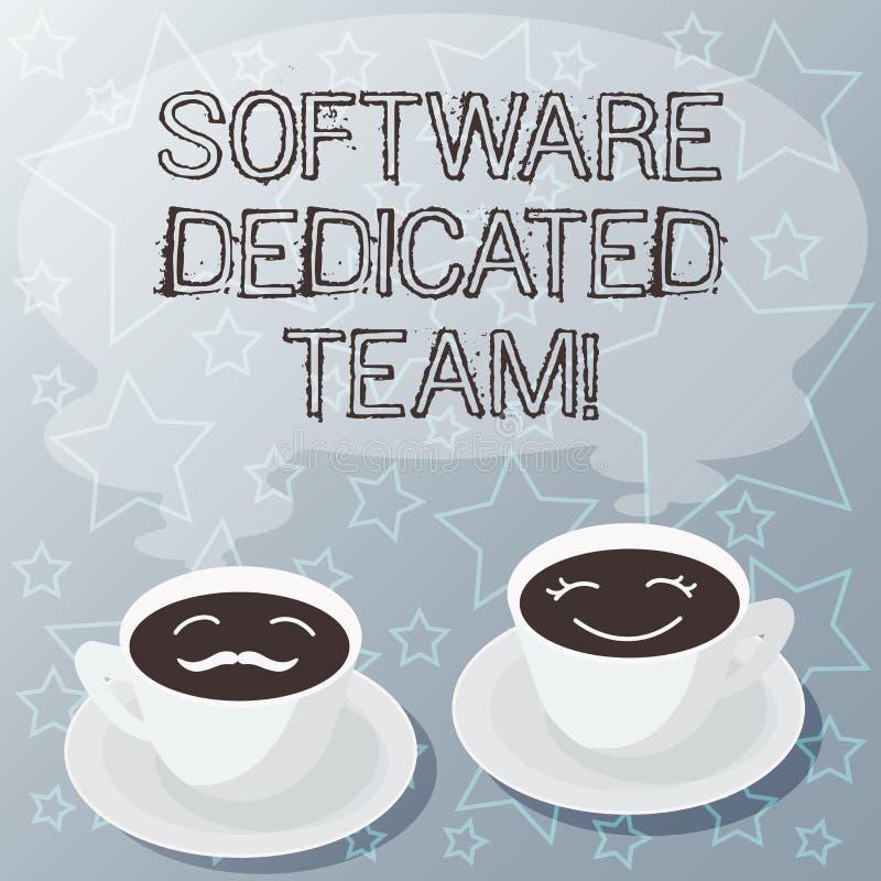 写软件热忱的队的手写文本 概念意思对应用程序和网发展套的企业方法杯茶碟 皇族释放例证