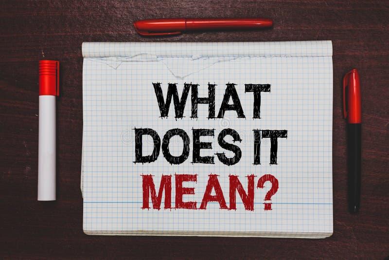 写这是什么意思问题的手写文本 概念意思给我某事的意思定义书面黑色,关于 免版税库存照片