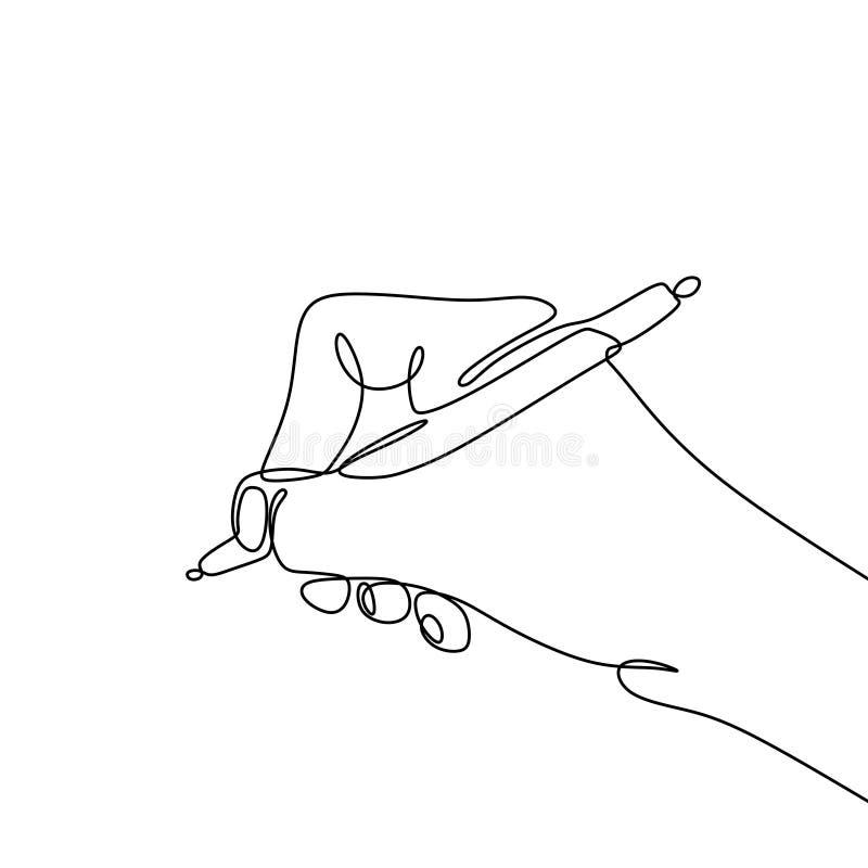 写连续的一人的线描手写在与墨水笔简单派设计的纸 皇族释放例证