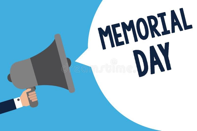 写阵亡将士纪念日的手写文本 意味尊敬和记住在举行meg的兵役人死的那些人的概念 向量例证
