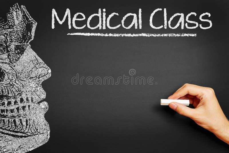 写医疗类的手在黑板 免版税图库摄影