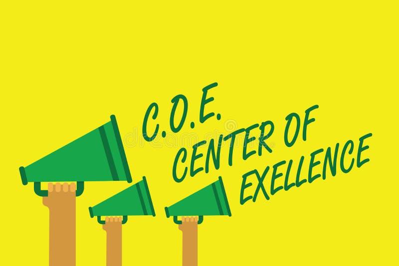 写C的手写文本 O E成就卓越中心 是概念的意思在您的位置的阿尔法领导达到举行meg的手 库存例证
