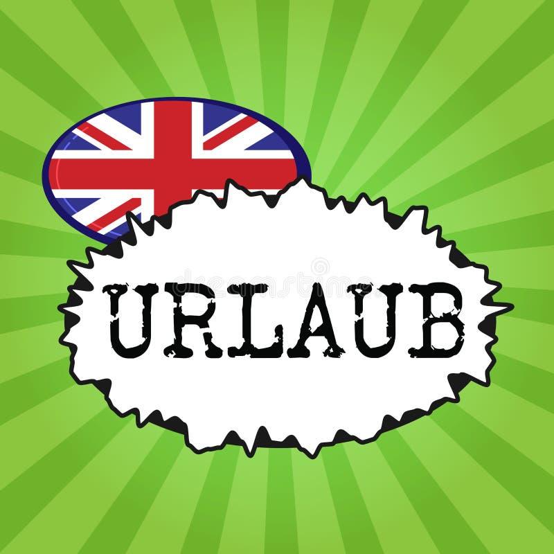 写Urlaub的手写文本 概念意思停薪留职从工作假日假期获得乐趣在海滩 皇族释放例证