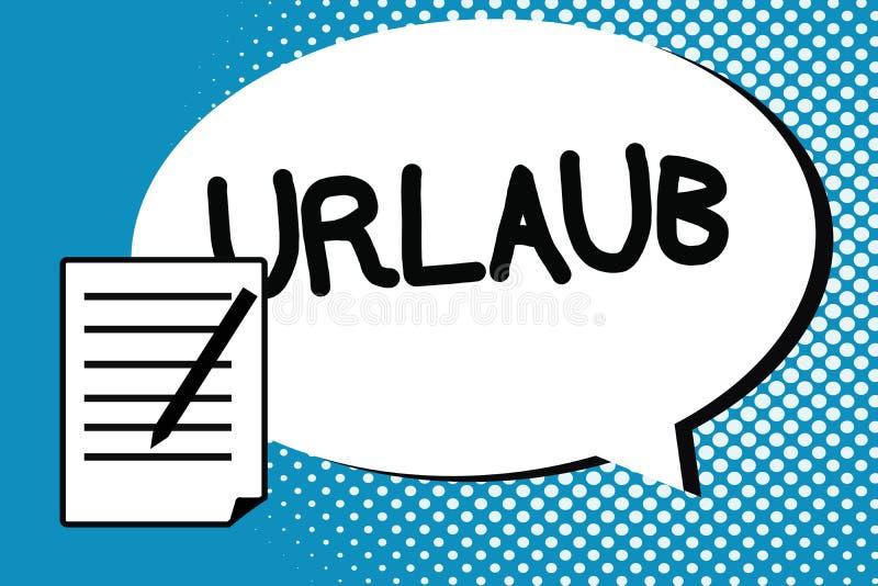 写Urlaub的手写文本 概念意思停薪留职从工作假日假期获得乐趣在海滩 向量例证