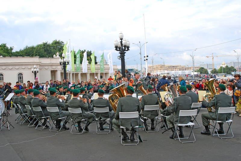 军乐队提洛尔(奥地利)在莫斯科执行 编辑类库存照片