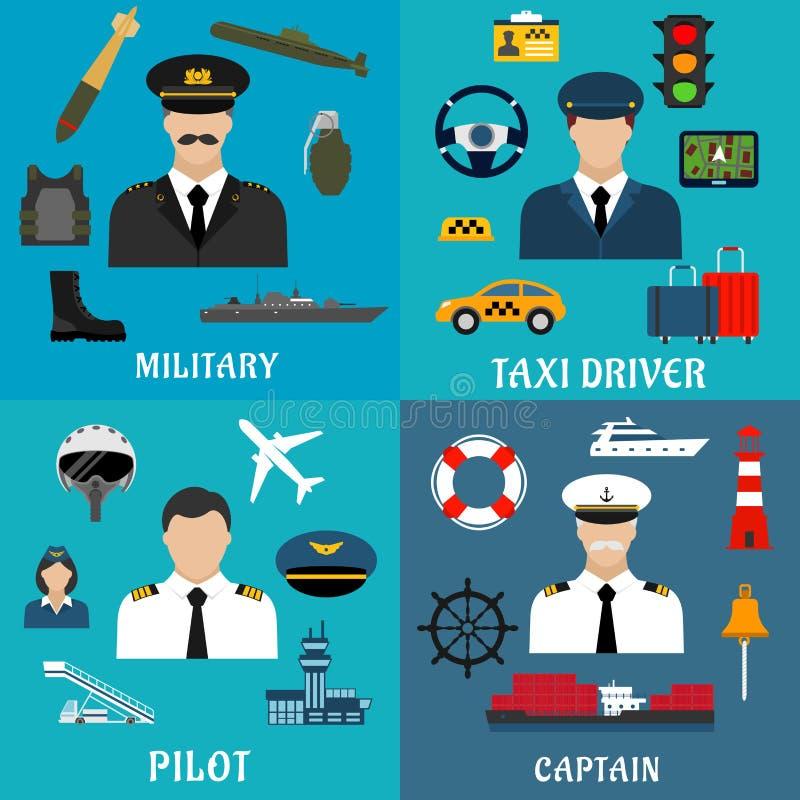 军事、上尉、飞行员和出租汽车司机象 库存例证