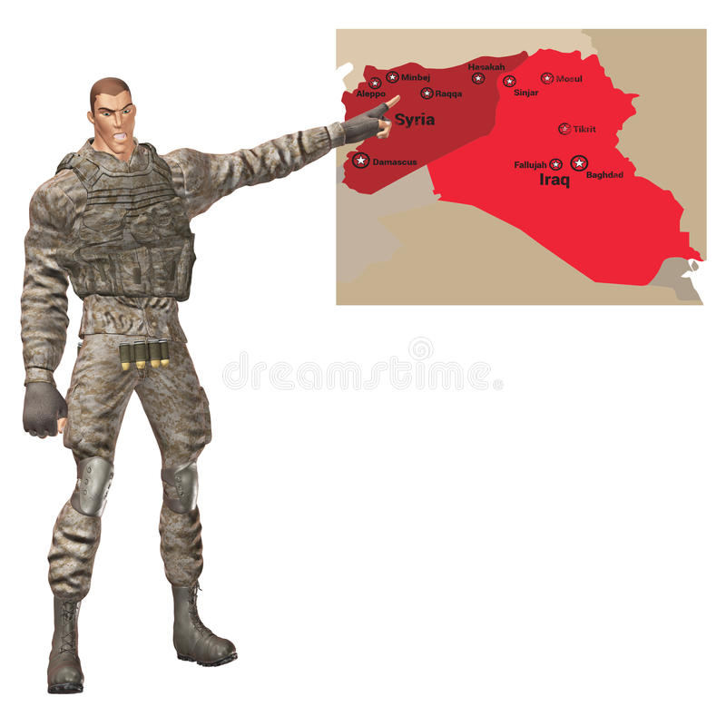 军事一般指向中东危机地图 向量例证