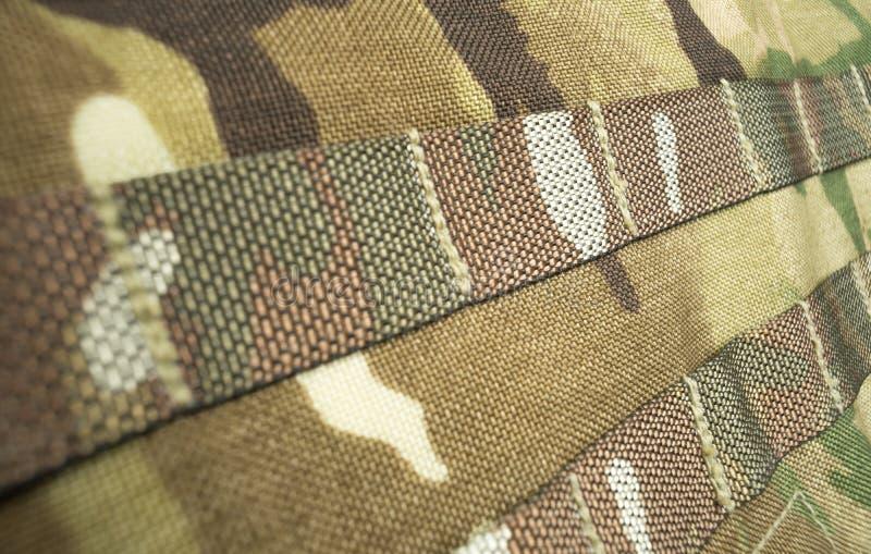 军事伪装在一个英国陆军MTP背包/背包的带子材料 免版税库存照片