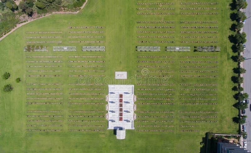 军事公墓顶视图在雅典,希腊 库存图片