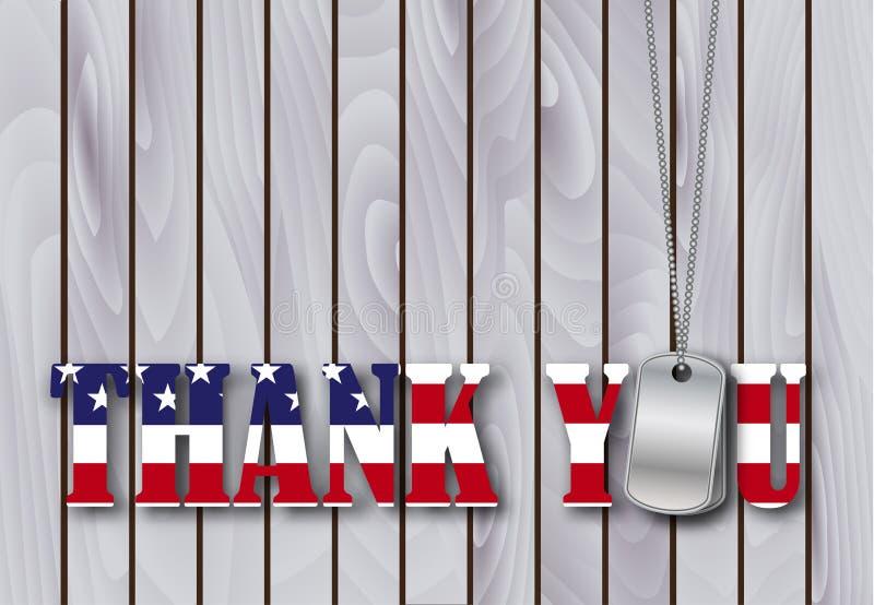 军事卡箍标记感谢您有旗子的 向量例证