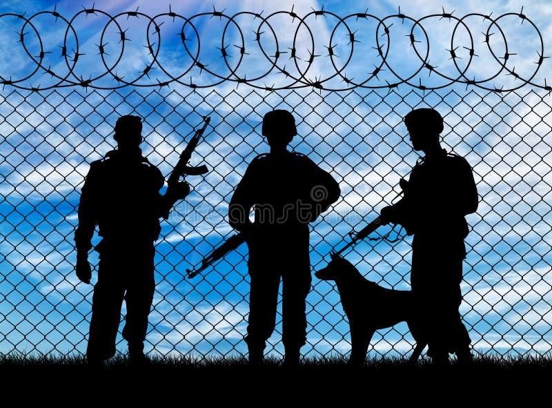 军事和狗的剪影 库存图片