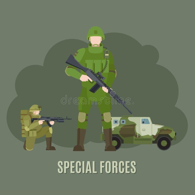 军事和陆军特种部队 向量例证