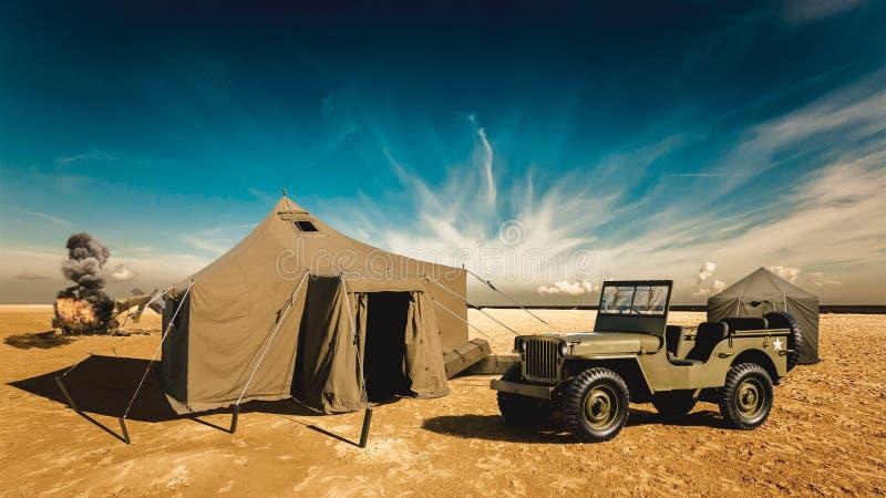 军事基地在沙漠 免版税库存图片
