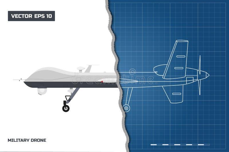 军事寄生虫图纸在概述样式的 侧视图 智力和攻击的陆军飞机 库存例证