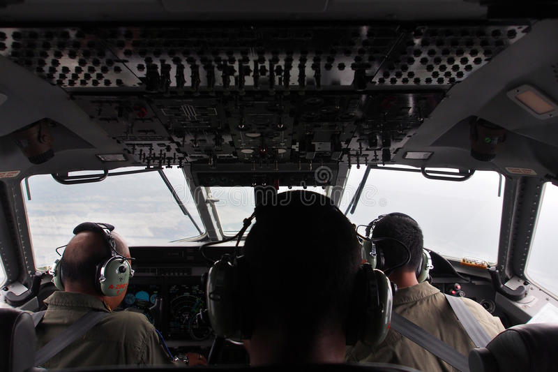 军事平面驾驶舱 免版税库存图片
