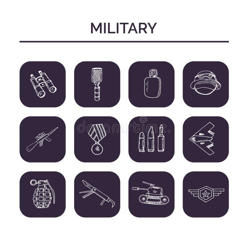军事手拉的乱画集合 草图 设计和包裹产品的传染媒介例证 标志汇集 库存例证