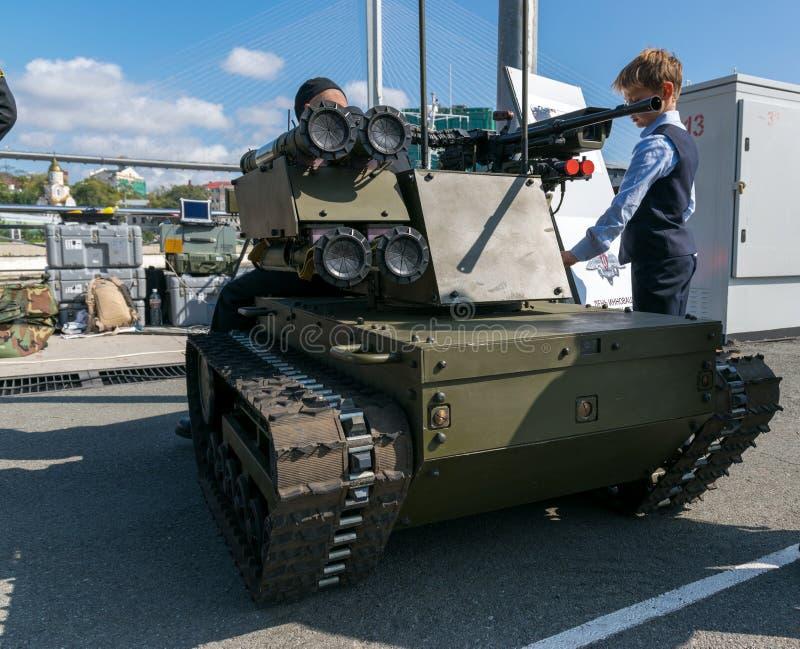 军事技术的陈列 库存照片