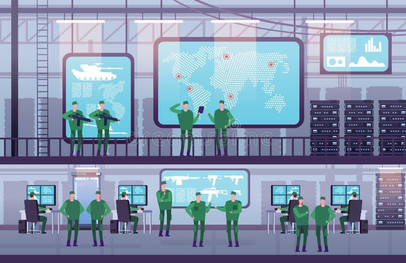 军事控制中心 人们与计算机一起使用在政府机关 与显示器的未来派控制中心 皇族释放例证