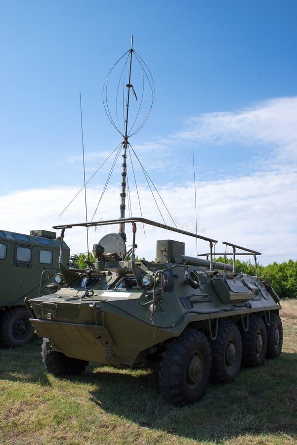 军事无线电系统 作战车通信系统 免版税库存照片