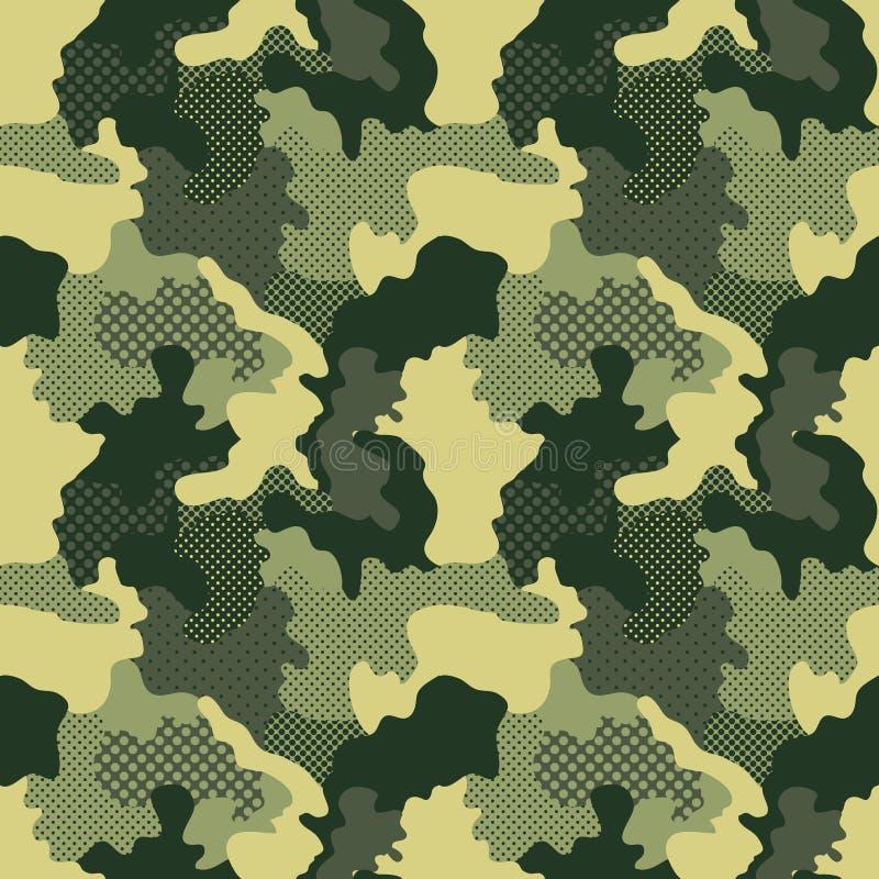 军事无缝的样式 背景伪装无缝的方形瓦片 卡莫时尚纹理 美国战士 库存例证