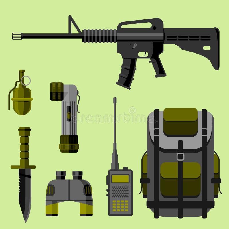 军事武器枪装甲力量设计和美国战斗机弹药海军伪装传染媒介例证 库存例证