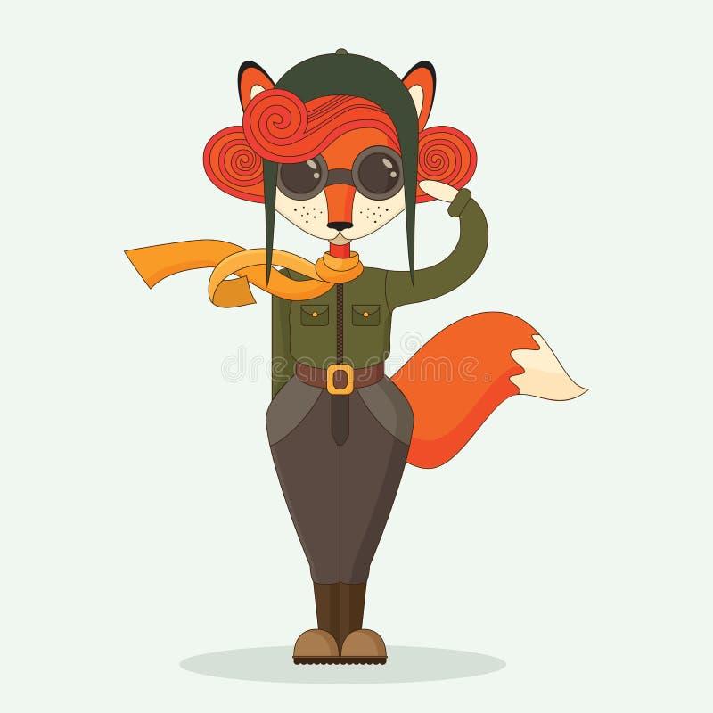 军事狐狸飞行员 免版税库存图片