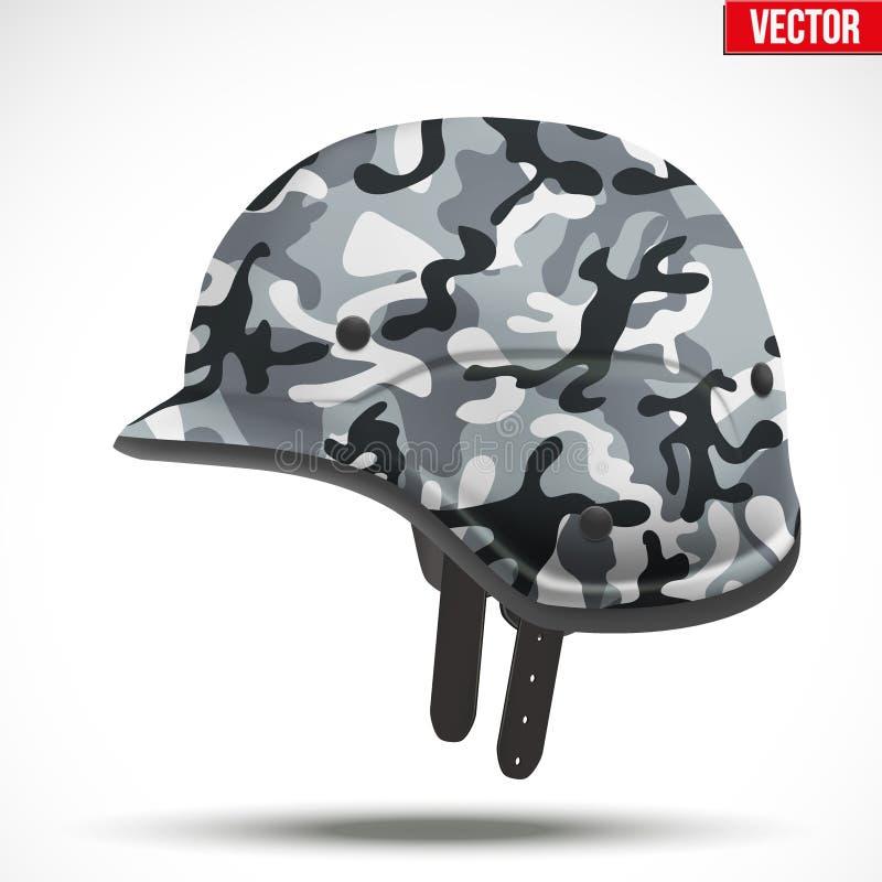 军事现代伪装盔甲 侧视图 皇族释放例证
