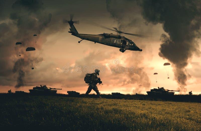 军事直升机、力量和坦克在农场 向量例证