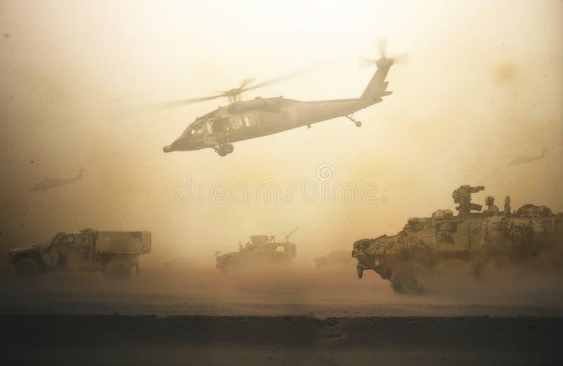 军事直升机、力量和坦克在风暴之间 皇族释放例证