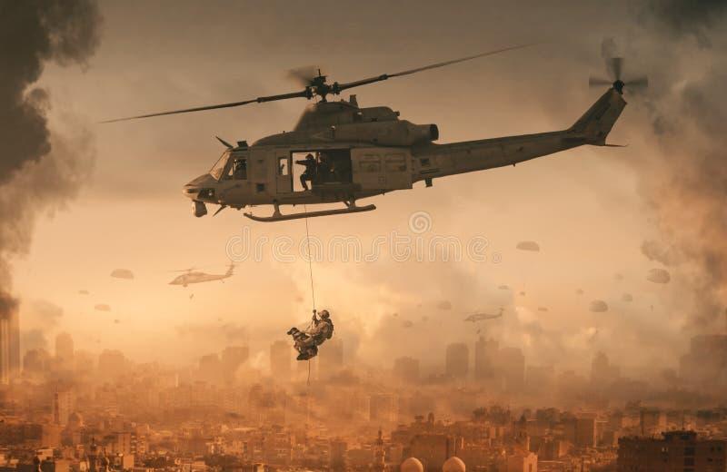军事直升机和力量与狗在被毁坏的城市 库存照片