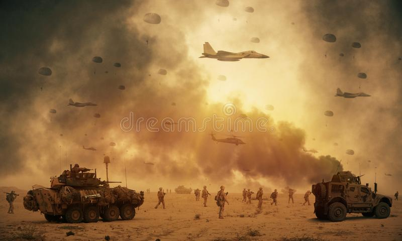军事直升机和力量在战场 免版税库存照片