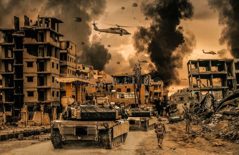 军事直升机和力量在被毁坏的城市 向量例证