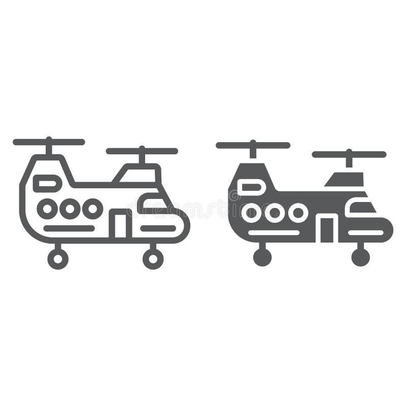 军事直升机线和纵的沟纹象、军事和车,砍刀标志,向量图形,在a的一个线性样式 向量例证