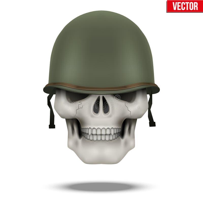 军事美国盔甲M1 WWII和头骨 库存例证