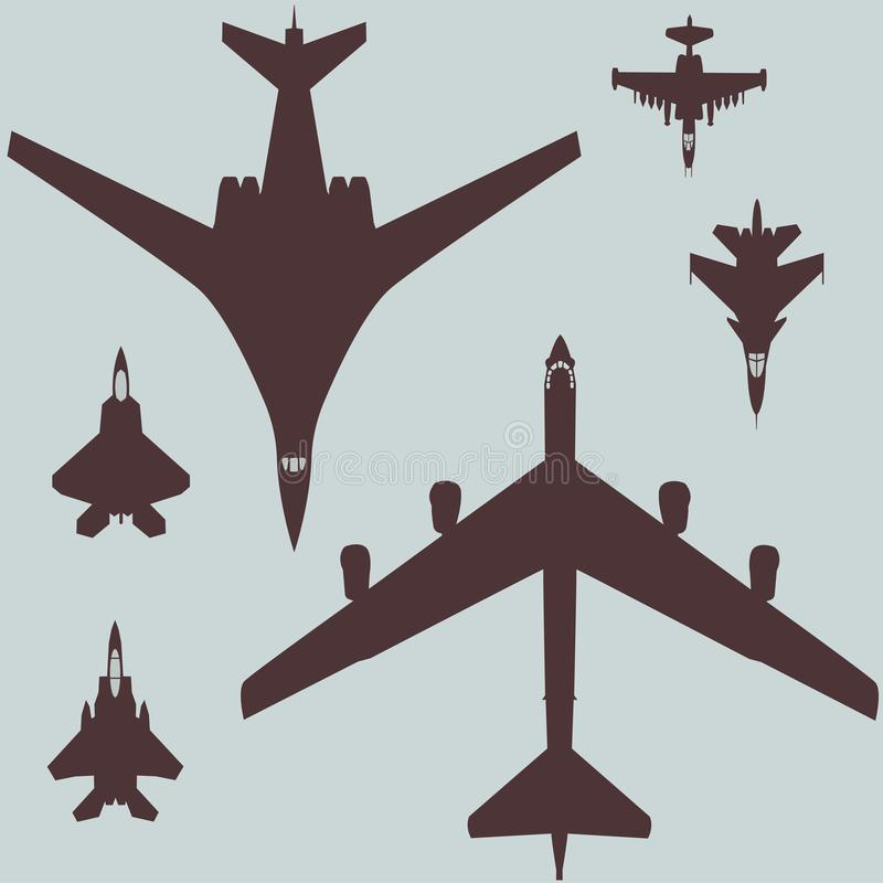 军事航空套战机和轰炸机飞机的向量图形样式 向量例证