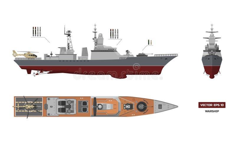 军事船的图象 上面,前面和侧视图 皇族释放例证