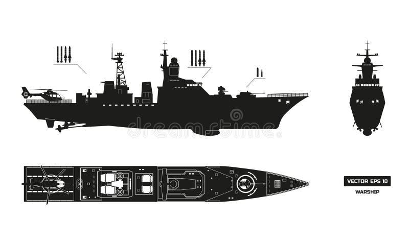 军事船详细的剪影  上面,前面和侧视图 战舰模型 在平的样式的军舰 库存例证