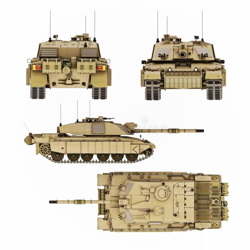 军事装甲的坦克例证有细节四个看法  上面、边、前面和后面8k决议图象 向量例证