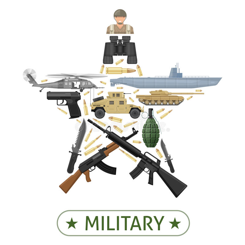 军事设备设计 皇族释放例证