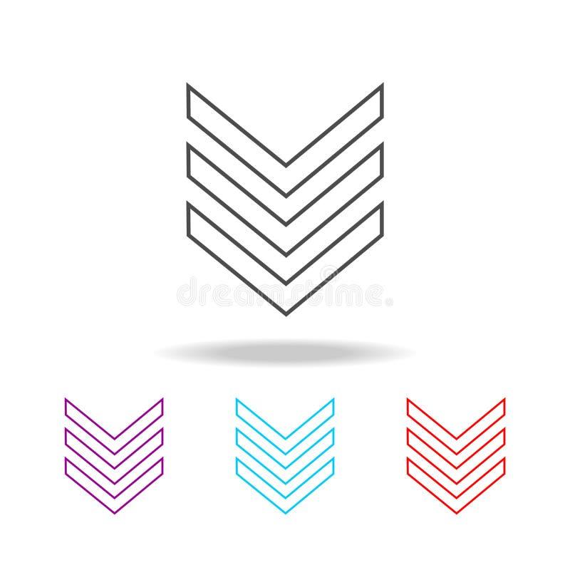 军事象征等级线象 军事的元素在多色的象的 优质质量图形设计象 简单的象为 向量例证