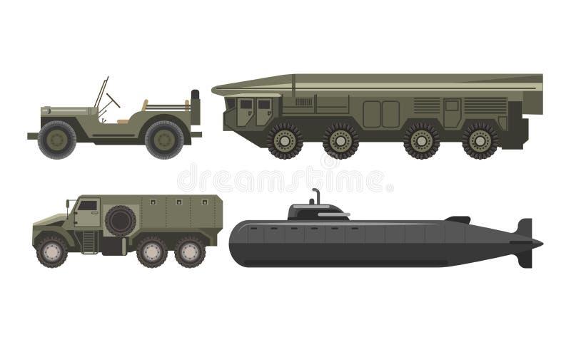 军事运输与被设置的防弹语科库例证 向量例证