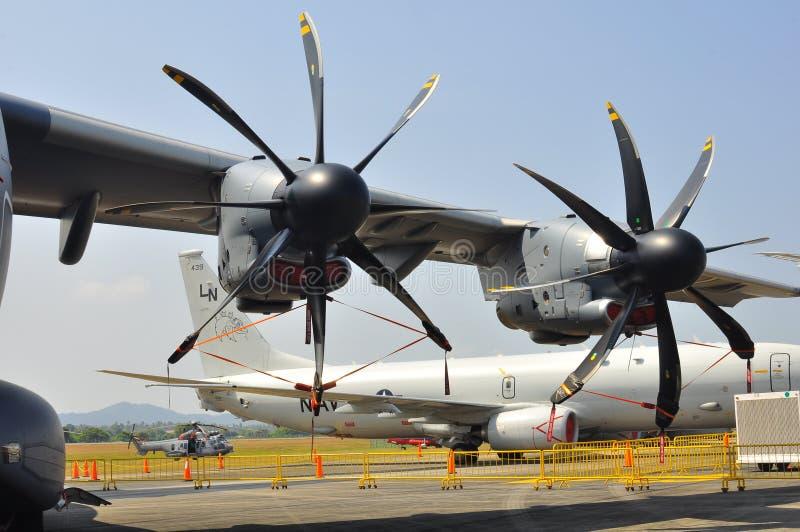 军事运输航空器大推进器  图库摄影