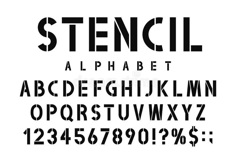 军事钢板蜡纸字体 模板印刷与数字的字母表在减速火箭的军队样式 葡萄酒和都市字体钢板蜡纸板材的 向量例证