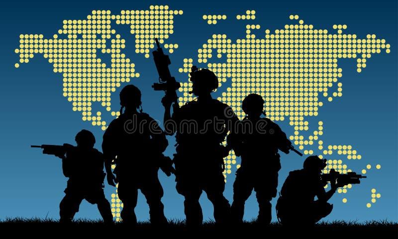 军事队剪影与武器的 库存照片