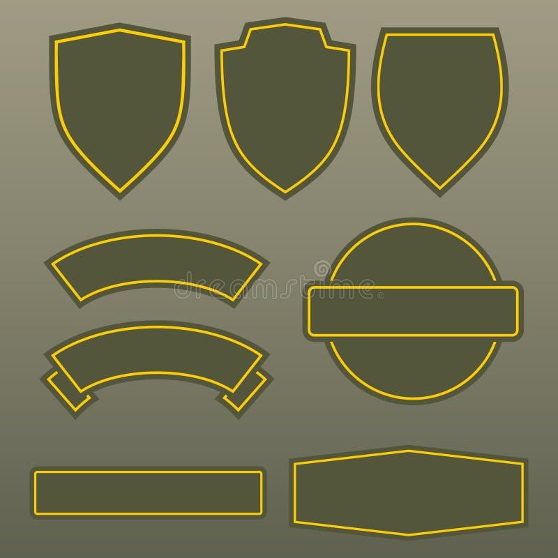 军事颜色军队补丁模板设计 库存例证