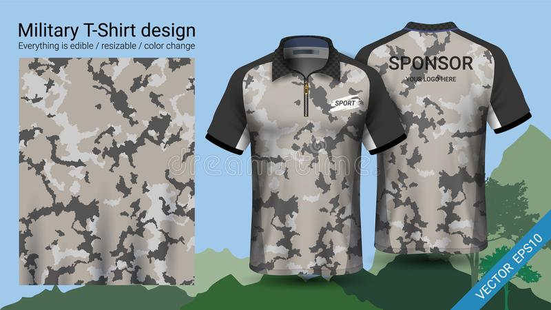 军事马球T恤杉设计,与伪装印刷品为密林穿衣,远足迁徙或猎人,传染媒介eps10文件 向量例证