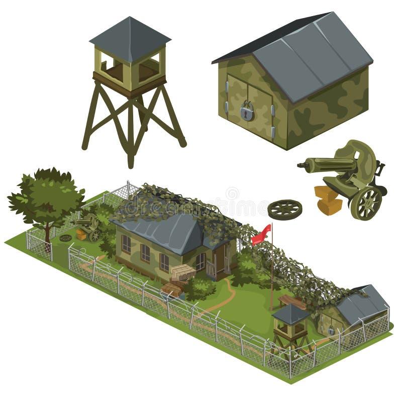 军事驻防,车库、塔和机枪 库存例证