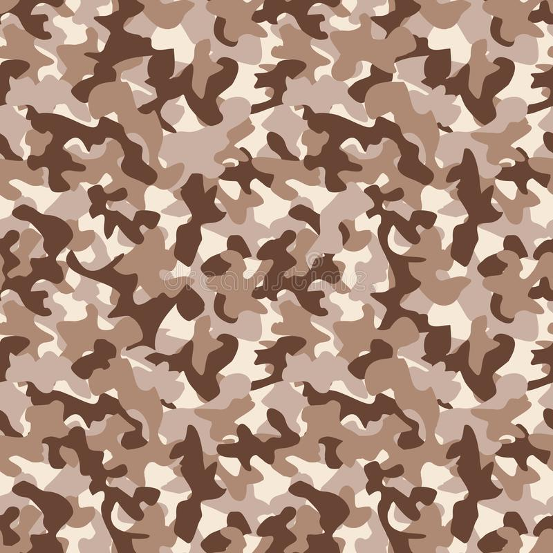 军事camo无缝的样式 在沙漠褐色的伪装背景 皇族释放例证