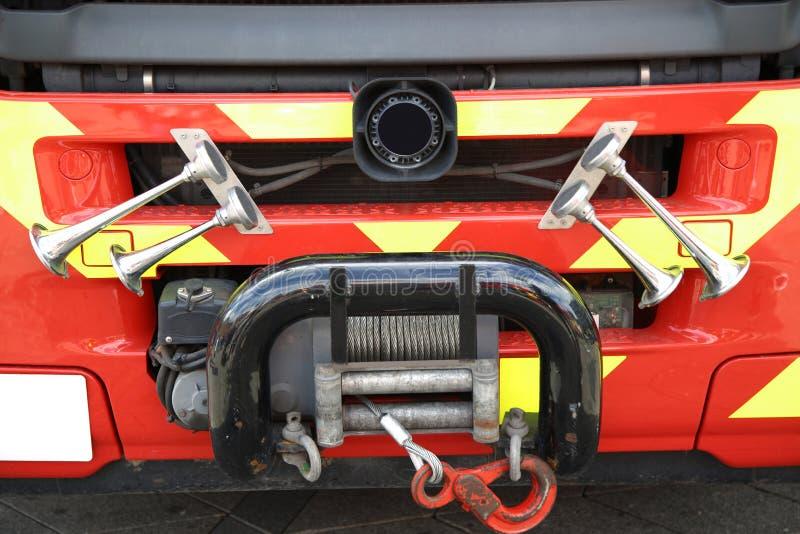 军号细节在关闭的-消防车 免版税图库摄影