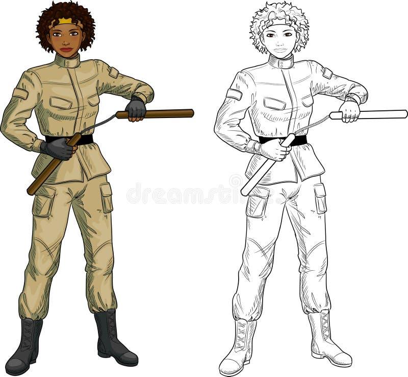 军服的非裔美国人的Nunchuck女孩 库存例证